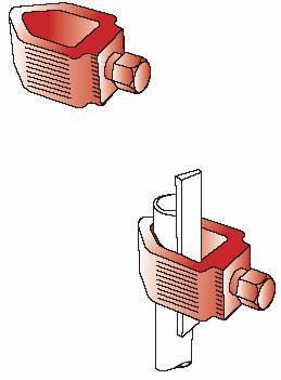 Kẹp thanh đồng & cọc tiếp đất CVL dùng cho hệ thống nối đất, Ground rod copper tape clamp