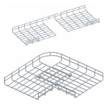 Co ngang máng lưới 90°-450/500mm CVL - Horizonal bend 450/500mm for wire mesh tray, cable basket tray