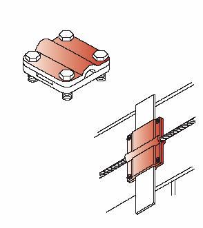 Kẹp cáp đồng và thanh đồng, thanh nhôm CVL cho hệ thống chống sét 4 vít, Alumininium, copper tape with cable