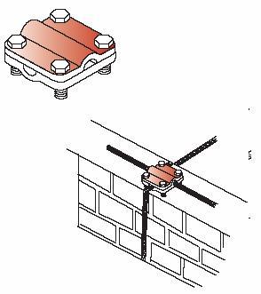 Kẹp cáp đồng 4 ngã CVL cho hệ thống chống sét 4 vít, Copper cable cross clamp for lightning protection