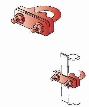 Kẹp U thanh đồng, nhôm & cọc tiếp đất CVL cho hệ thống nối đất, ground rod to copper tape clamp