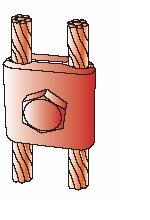 Kẹp giữ 2 cáp CVL dùng cho hệ thống nối đất, ground clamping two cable to flat bar